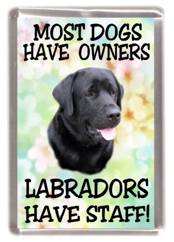 "Labrador Fridge Magnet /""Most Dogs Have Owners Labradors Have Staff!/"" Black"