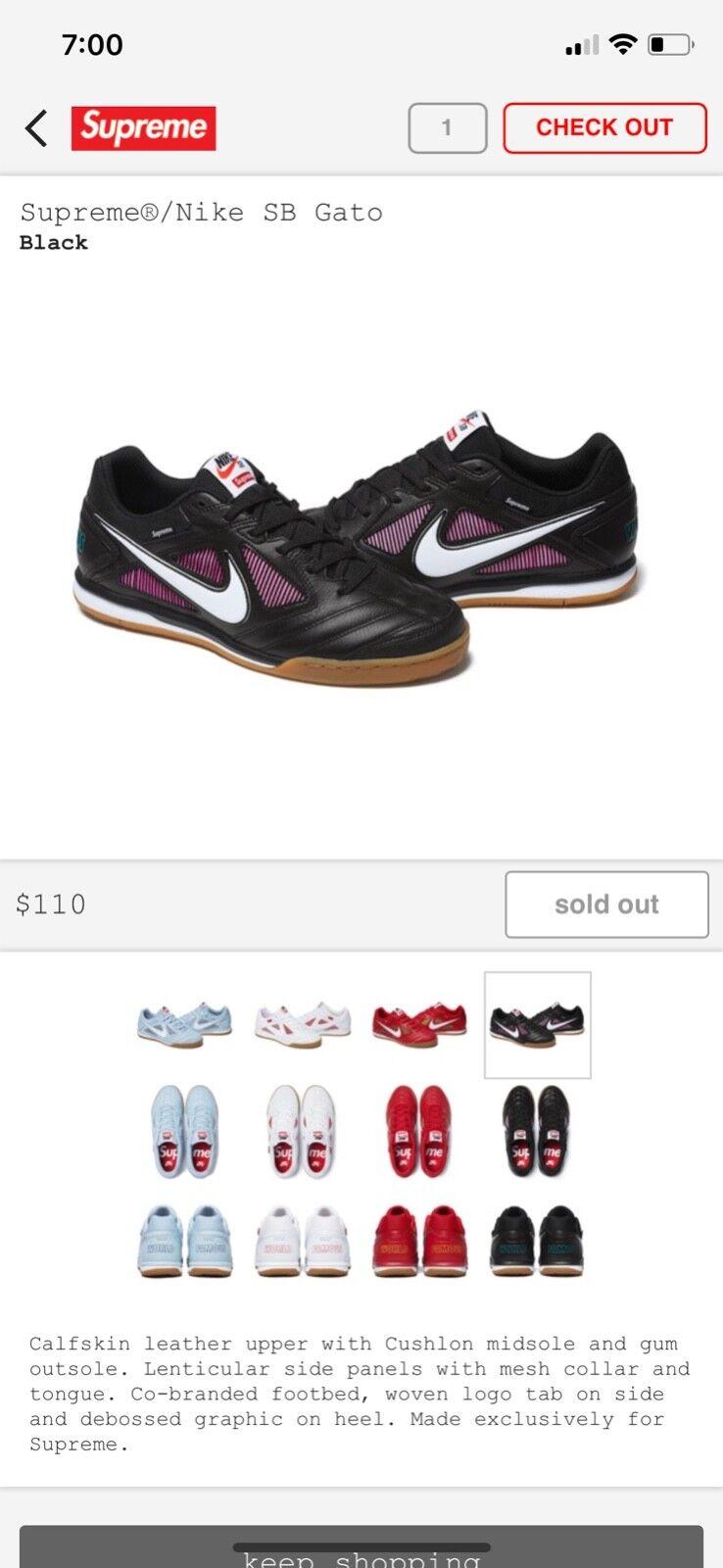 Supreme Nike Nike Nike SB GATO size 9, Black 61e0a2