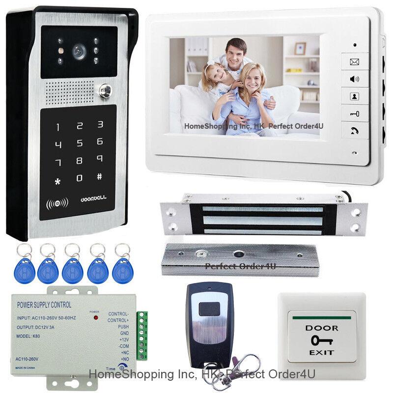 7  Teléfono Con Cable De Vídeo Puerta Sistema De Intercomunicación + Cámara de contraseña de RFID + Cerradura Magnética Superior