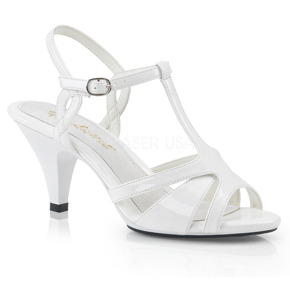 PLEASER Sexy Low 3  Heels T-Strap White Patent Sandals shoes w  Ankle Strap
