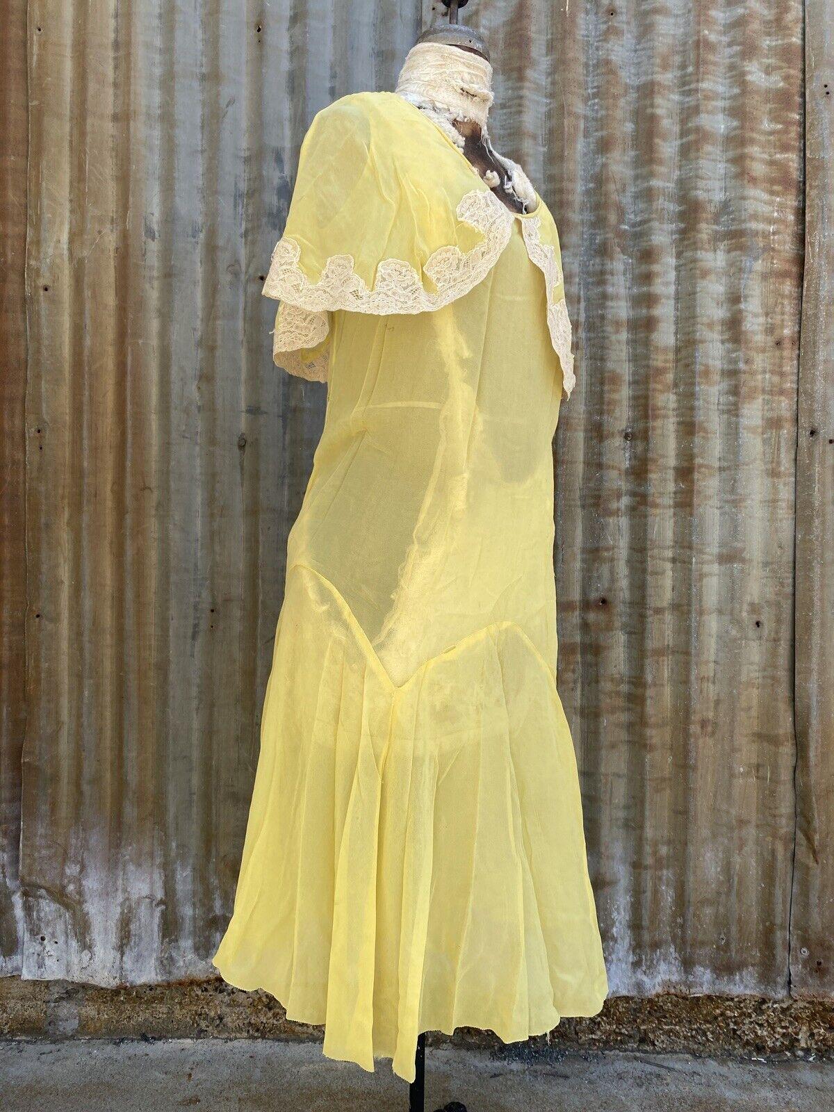 Antique 1920s 1930s Yellow Silk Chiffon Midi Dres… - image 8