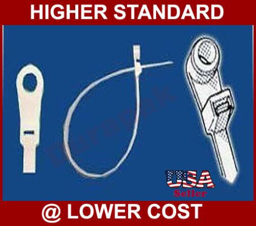 """100 pk 15/"""" White Mountable Head Cable Tie 120 Lbs Nylon"""