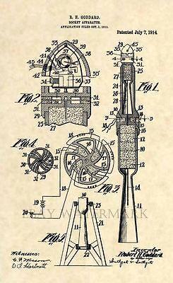 Official Rocket Patent Print Art Vintage 1914 NASA Science Antique 181