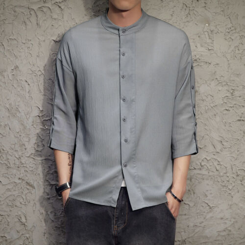 Summer Mens 3//4 Sleeve Collarless Shirts Formal Casual Chinese Work T-shirt Tops