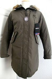 lowest price 244a5 0f548 Details zu BLAUER USA Daunen Mantel Jacke Parka Damen mit Kapuze Grün Gr.L  NEU mit ETIKETT