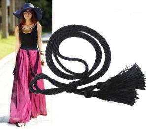 Hot-Sale-Women-Ladies-Tassels-Weave-Twisted-Rope-Waist-Belt