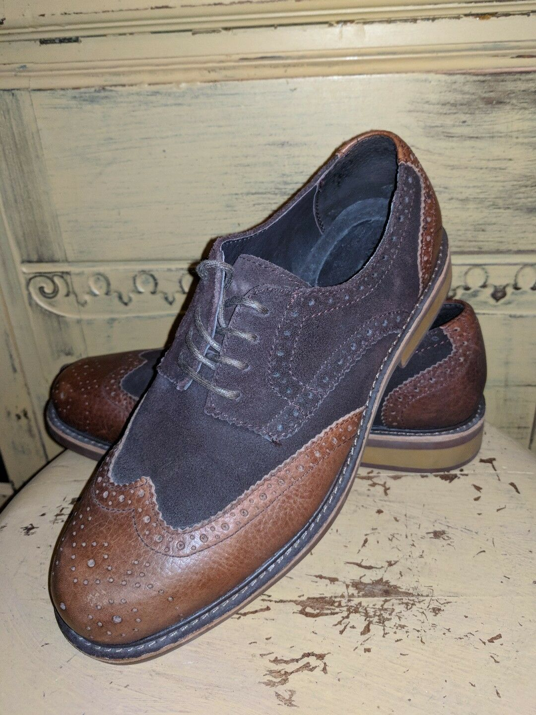 LANDS END MENS TWO TONE BROWN LEATHER WINGTIPS OXFORDS CASUAL SHOES 8 M UK 7 41