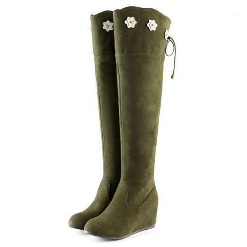 Fashion  Women/'s Wedge Heel Zipper Flower Over The Knee Long Boots Shoes Size