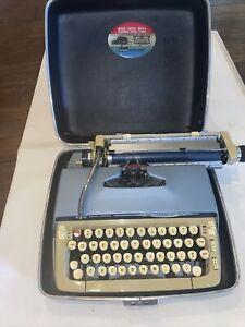 Vintage Blue SCM Smith Corona Galaxie II Manual Typewriter W Case