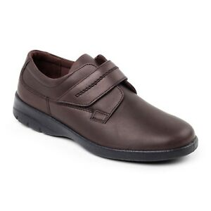 Soft Comfy Casual Leather Strap Air Comfort Padders Brown Shoes Mens Bar Padded xnEqC