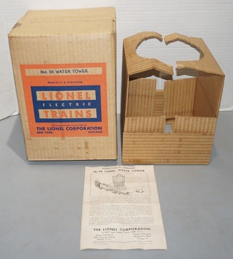 LIONEL EARLY POSTWAR WATER TOWER BOX WITH INSERT ONLY & INSTRUCTION SHEET