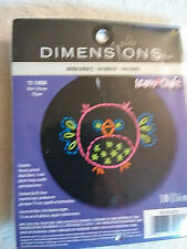 """Dimensions Learn-A-Craft Owl Stamped Embroidery Kit-3/"""" Round Stitched In Thread"""