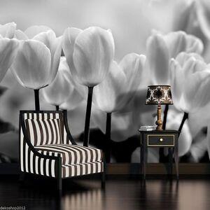 fototapete fototapeten tapete tapeten poster schwarz weisse tulpen 3fx287p4 ebay. Black Bedroom Furniture Sets. Home Design Ideas