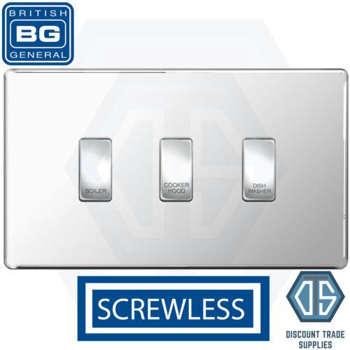 BG Chrome Poli Screwless Custom Grille Switch Panel Kitchen Appliance 3 Gang