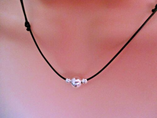 Sterling Silver Beads on Waxed Cotton Cord  Black Adjustible Necklace