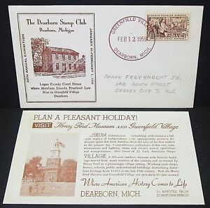 Dearborn-Stamp-Club-Cachet-US-Cover-Greenfield-Village-Lincoln-USA-Brief-Y-138