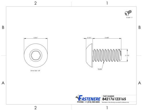 "10-24 x 7//16/"" Button Head Socket Cap Screws Black Oxide Alloy Steel Qty 500"