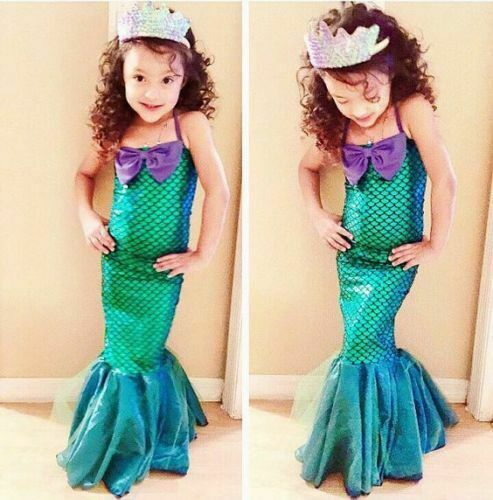 Girls Princess Dress Party Cosplay Costume Kid Ariel Little Mermaid Set  Outfits