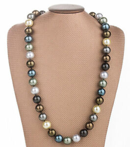 Fashion 12mm Genuine Multicolor Round South Sea Shell Pearl Necklace 18/'/' AAA