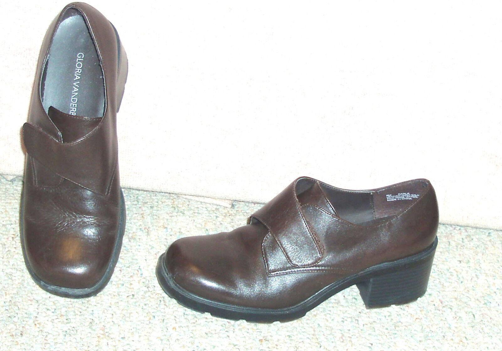 Women's brown leather / upper GLORIA VANDERBILT shoes / leather heels , sz 8 M fb21ca