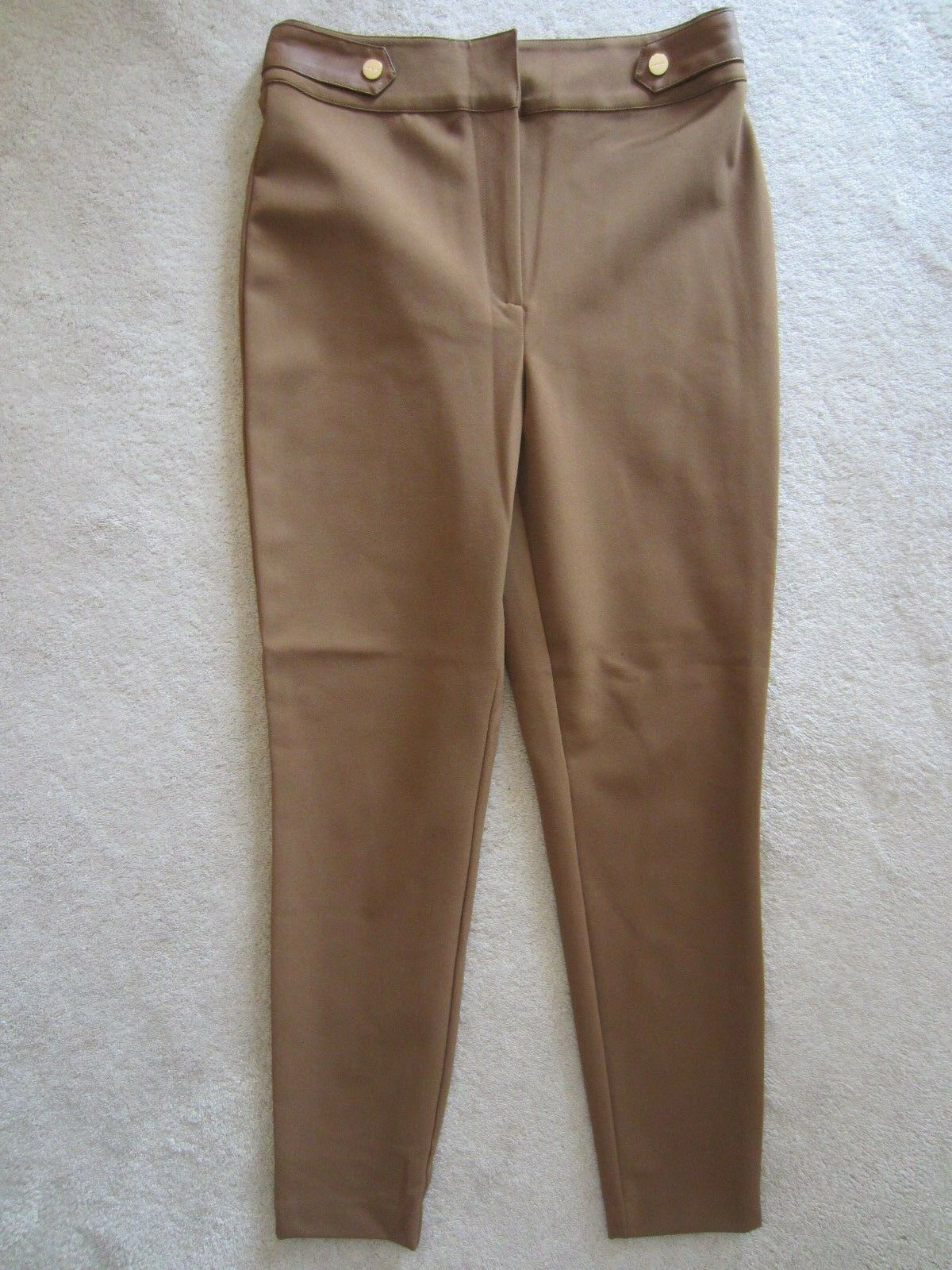 MARCIANO BY GUESS STRETCH BROWN SKINNY PANTS SLIM STRETCH SIZE 8 SIDE ZIP NEW