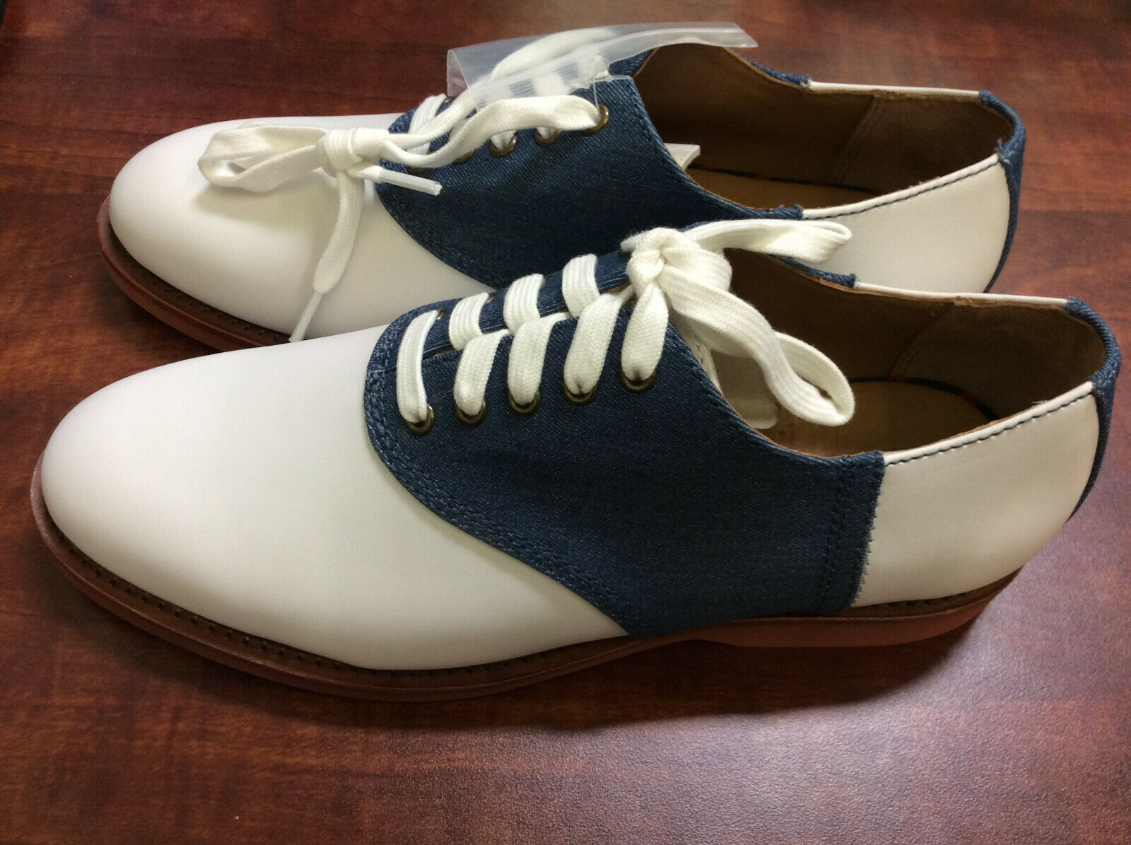 Polo Ralph Lauren Homme Orval chaussures Oxford, blanc Denim, 8.5 D US