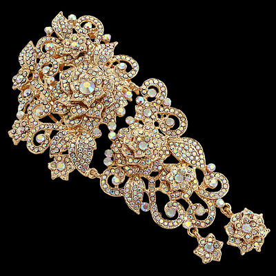 "5.91"" Huge Wedding Bridal Flower Hair Comb Tiara Swarovski Crystal Gold Tone"