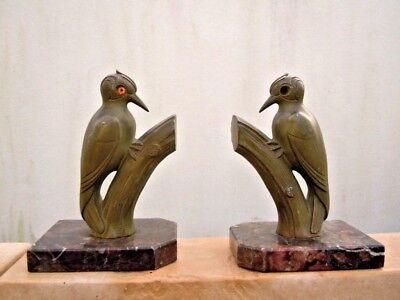 Doelstelling Sculpture Couple Oiseaux Piverts Signée Franjou Serre Livre D'époque Art Déco