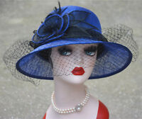 Womens Kentucky Derby Wedding Sinamay Ascot Dress Cloche Bucket Church Hat T148