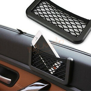 car auto storage mesh net mobile phone organizer bag holder pocket universal ebay. Black Bedroom Furniture Sets. Home Design Ideas