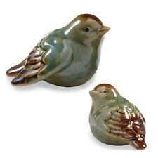 DELUXE SET//2 STONEWARE SONGBIRDS FIGURINE HOME teal brown BIRD New INTERIOR