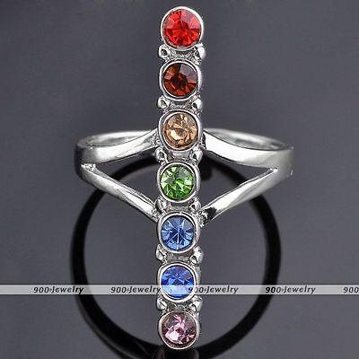 Hot Boho Resin Beads Reiki Chakra Healing Point Balancing Finger Rings US 8