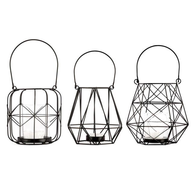 Laternen Set 3 tlg. Metallgeflecht Schwarz / Teelichthalter, Windlicht, Laterne
