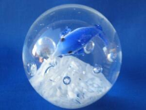 Glass-Crystal-Paperweight-Ball-with-Dolphin-and-Waves-Blue-and-White