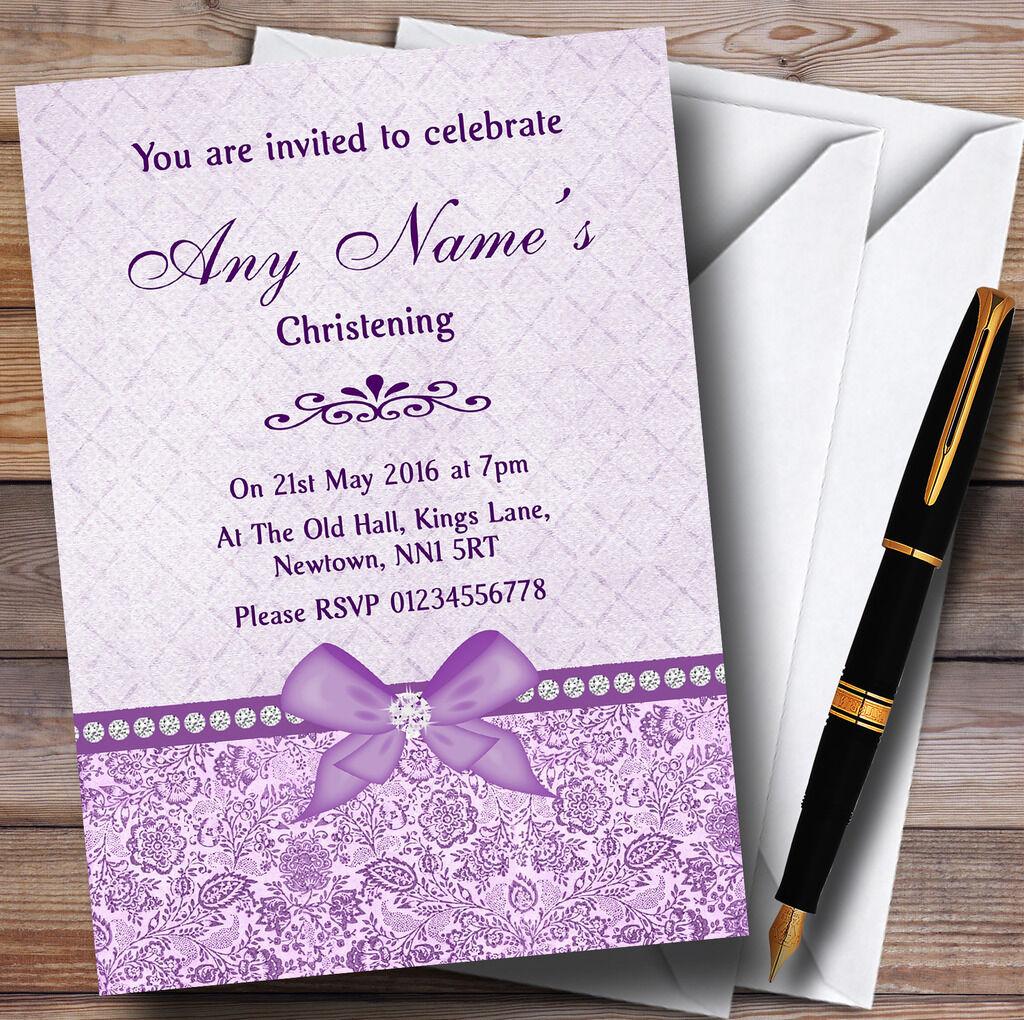 Pretty floral vintage bow & diaFemmete diaFemmete & lilas invitations Personnalisées Baptême d35618