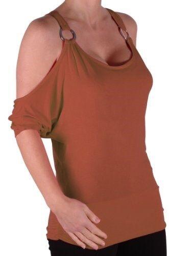 Damen In ubergroBen Schulter Runde Ausschnitt 3//4 Batwing armel Bluse Tunika