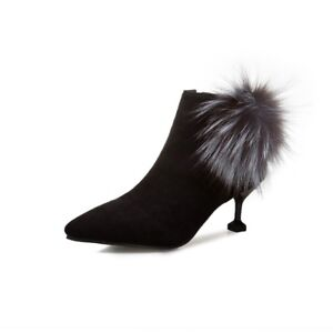 4e5e29d26790 Ladies Suede Pointed Toe Pom-Pom Ball Chelsea Ankle Boots Chic ...
