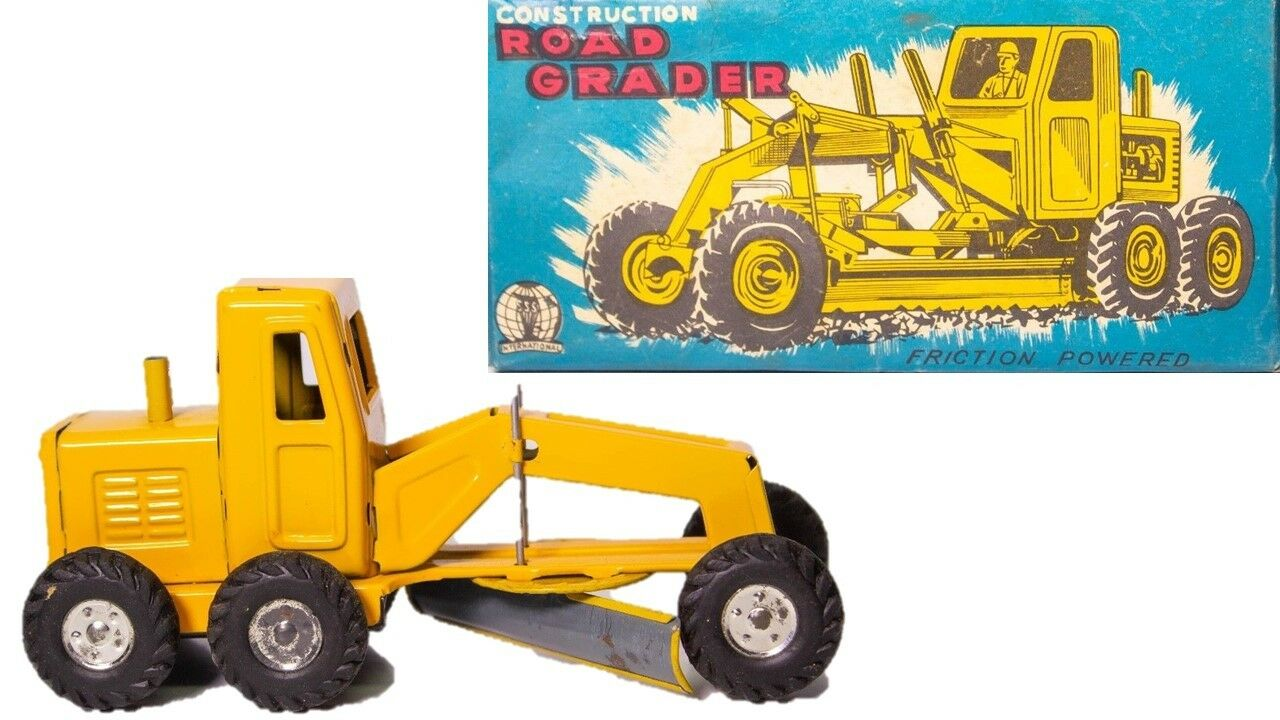 VINTAGE JAPANESE TIN LITHOGRAPHED SSS ROAD GRADER WITH ORIGINAL BOX