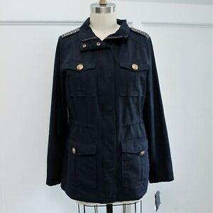 pretty nice 245a1 a9d0d Details zu New Steve Madden Military Jacket Sz M Navy Blue Cotton