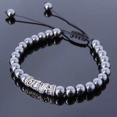 Men Powerful Chakra Stones Braided Bracelet Rainbow Obsidian Silver Dragon Charm