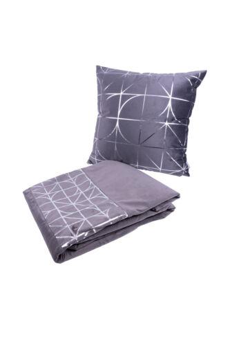 Kuscheldecke 2er Set Decke Kissen Dekokissen Couch Sofakissen Grau Silber