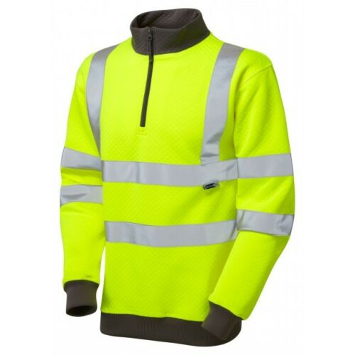 Leo Workwear brynsworthy ISO20471:3 Giallo Hi-Viz 1//4 Felpa Con Cerniera Taglia S-6XL