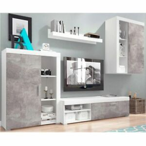 LIVING-ROOM-SET-2-DISPLAY-CABINET-TV-UNIT-FLOATING-SHELF-GREY-WOOD-EFFECT