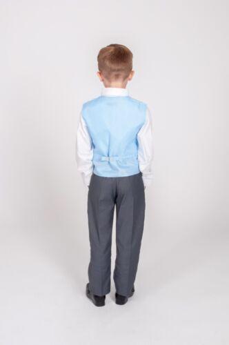 Boys Suits Boys Grey Blue Waistcoat Suit Wedding PageBoy Formal Party 5pc Suit