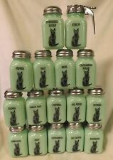 Lot of 16 Jade Jadite Jadeite Milk Green Glass Stove Top Spice Jars w/Black Cats