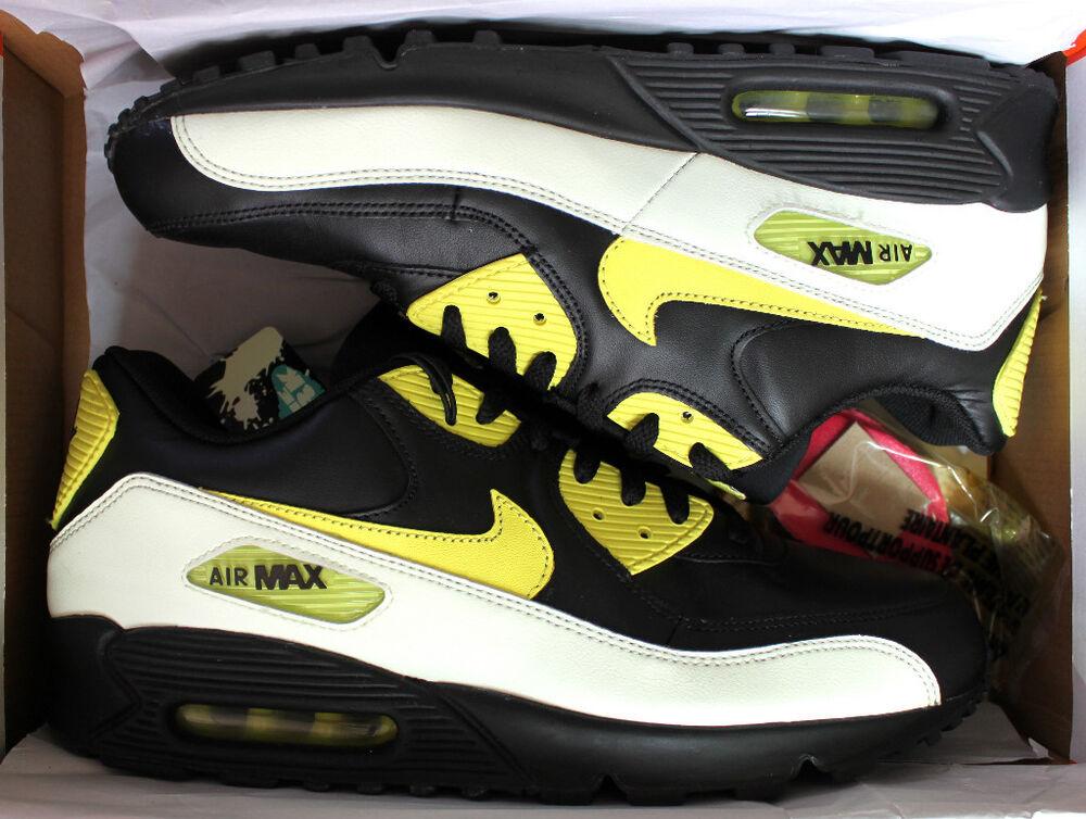 Nike Air Max 90 Premium Sz 13 Noir Brille Dans Le Noir Paquet Limité Un Temps Qs