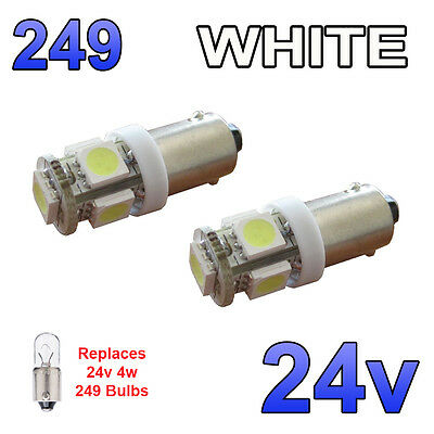 2 x Bright White 12v LED Side Lights 249 BA9s T4W 5 SMD Bayonet Bulbs HGV Truck