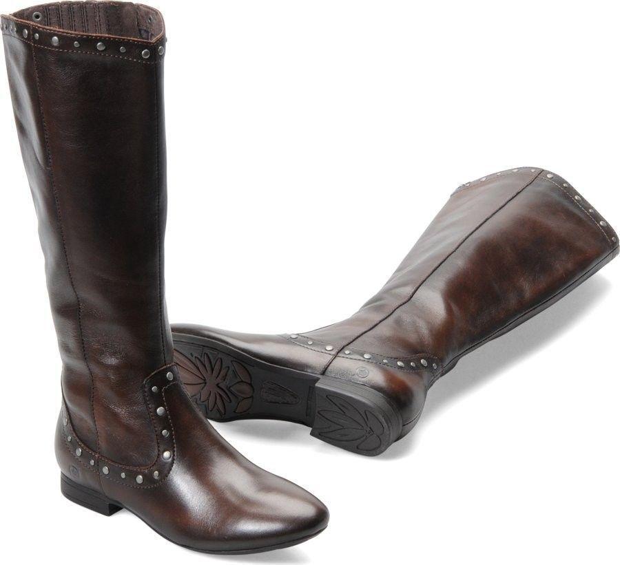 NEW Women's Born Lizzie Cognac Burnished Grain Leather Boots D05416  6 7 9