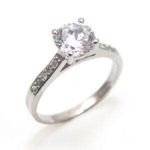 Diamond-Unique-1-KT-Taglio-Rotondo-Anello-Di-Fidanzamento-9-KT-oro-marchiato-Regno-Unito-D765