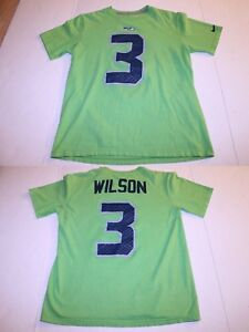 Details about Men s Seattle Seahawks Russell Wilson M Jersey T-Shirt Tee (Lime  Green) Nike Jer da2794d73